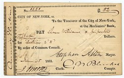 City of New York Check signed by Mayor Stephen Allen - City of New York 1821