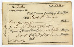 City of New York check to Jacob P. Roome signed by Mayor, Cadwallader D. Colden  - New York 1818