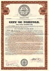 City of Norfolk Serial General Improvement Bond - Virginia 1971