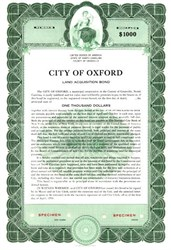 City of Oxford Water Bond - North Carolina 1953