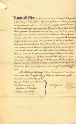 Juniata Coal Company Transfer Agreement signed by Joseph Reed Ingersoll - Cambria County, Pennsylvania 1828