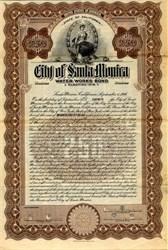 City of Santa Monica Water Works Bond - California 1916