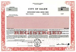 City of Salem, Oregon - Specimen Bond 1983