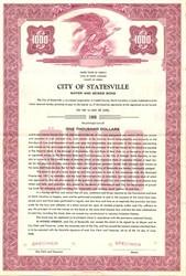 City of Statesville Water and Sewer Bond - North Carolina 1958