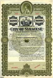 City of Syracuse High School $10,000 Bond - New York 1900