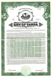 City of Tampa Water Revenue Bond - Florida 1952