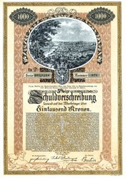 Loan of the City of Vienna, Capital of the Federation in Kronen - Austria 1921