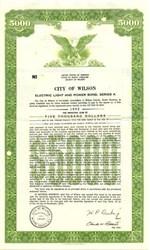 City of Wilson Electric Light and Power Bond - North Carolina 1972