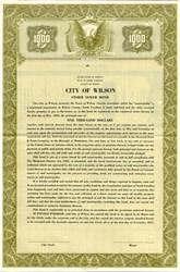 City of Wilson Storm Sewer Bond - North Carolina 1951