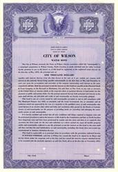 City of Wilson Water Bond - North Carolina 1951
