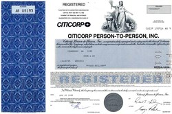 Citicorp Person-To-Person, Inc. $5,000,000 Note - Delaware 1989