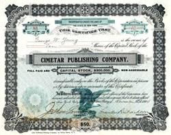 Cimetar Publishing Company signed by Leander Richardson - New York 1904