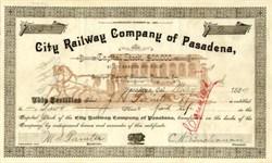 City Railway Company of Pasadena, California 1889