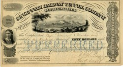 Cincinnati Railway Tunnel Company signed by General John C. Fremont - 1872