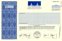 Cisco Systems, Inc - ( Rare IPO Specimen Certificate ) - John Morgridge as President - California 1990