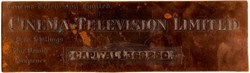 Cinema Television Limited RARE Copper Die Proof Plate - Became Cintel International Limited - 1929