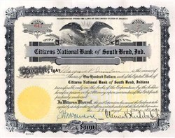 Citizens National Bank of South Bend, Ind. signed by Clement Studebaker 1923