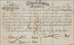 City of Boston 1849 signed by Mayor John Prescott Bigelow