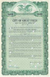 City of Great Falls Municipal Airport Bond 1938