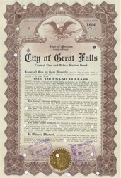 City of Great Falls Central Fire and Police Station Bond - Montana 1913