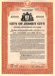 City of Jersey City General Improvement Bond - 1925 Signed by Mayor Frank Hague