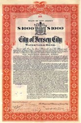 City of Jersey City Water Gold Bond 1911 - Signed by Mayor