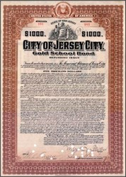 City of Jersey City $1,000 Gold School Bond 1915 signed by Mayor Mark M. Fagan