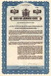 "City of Jersey City Tax Revenue Bond 1926 - Signed by Mayor Frank ""I am the Law"" Hague"