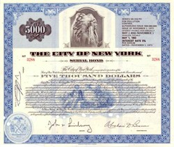 City of New York $5000 Serial Bond - Indian Chief Vignette