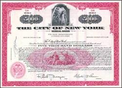 City of New York Municipal $5,000 Bond - Indian Chief vignette