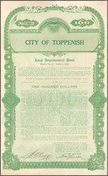 City of Toppenish Local Improvement Bond 1912 - Washington State