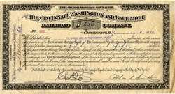 Cincinnati, Washington and Baltimore Railroad Company signed by Orland Smith, Civil War Brigade General - Ohio 1884
