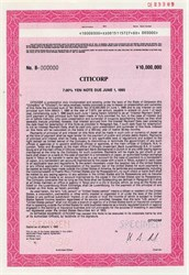 Citicorp 10,000,000 Yen  Note - 1990