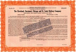 Cleveland, Cincinnati, Chicago and St. Louis Railway Company $50,000 Gold Bond with Stamp - 1919