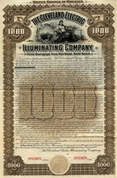 Cleveland Electric Illuminating Company $1000 Gold Bond -  Ohio 1898