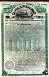 Cleveland, Cincinnati, Chicago and St. Louis Railway Company 1890 - Gold Bond