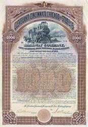 Cleveland, Cincinnati, Chicago, & St. Louis Railway Company 100 Year Gold Bond - 1890