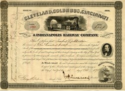 Cleveland, Columbus, Cincinnati, and Indianapolis Railway Company (Signed by John Henry Devereux)  -  1875