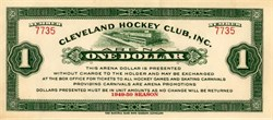 Cleveland Hockey Club, Inc. One Dollar Bill  - Ohio 1949