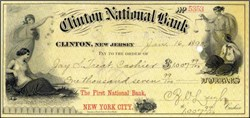 Clinton National Bank Check 1889 - Clinton, New Jersey