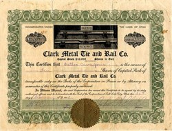 Clark Metal Tie and Rail Co. (Photo vignette of the company's metal tie) - Utah 1913
