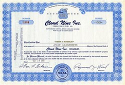 Cloud Nine, Inc. (Formally Dean's Pride, Inc)  - Colorado 1960