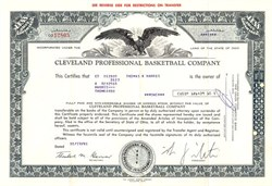 Cleveland Professional Basketball Company (Cleveland Cavaliers NBA Team)  - Ohio - 1981