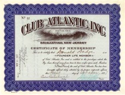 Club Atlantic, Inc. (Club Atlantic on the Sea)  - Brigantine, New Jersey 1927