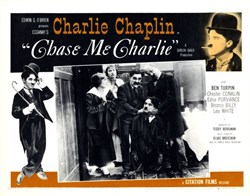 """Chase Me Charlie"" Lobby Card Starring Charlie Chaplin - 1959"