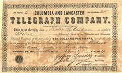 Columbia and Lancaster Telegraph Company - Pennsylvania 1854