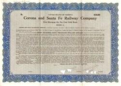 Corona and Santa Fe Railway Company - California 1929