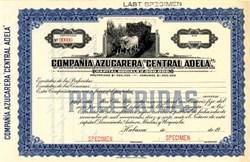 Compañía Azucarera Central Adela (vignette of a pair of oxen pulling a car)- Habana, Cuba