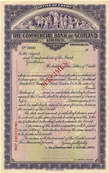 Commercial Bank of Scotland Limited Letter of Credit Specimen - Scotland