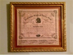 Confederate States of America $500 War Bond - Officer overlooking Rappahannock River  - 1863 - Classic Frame